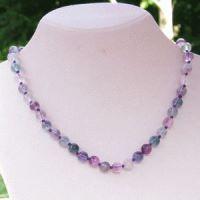 Regenbogen-Fluorit Halskette 60cm 8mm Stein Perlen