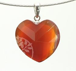Karneol (Carneol) Herz facettiert 27X20mm Silber 925er Ovalöse