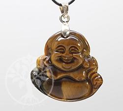 Tiger Eye Buddha Gemstone Pendant 39x24mm