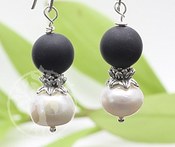 Earring Onyx Mit Pearl Sterlingsilver 925 45mm