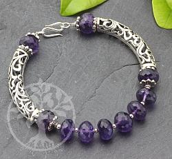 Amethyst Armband Mit Silber Perlen 925 Lange 20cm
