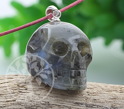 Labradorite pendant skull with eyelet in silver 925 26X16mm