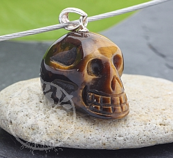 Tiger Eye Skull Pendant Small Mit With Silver 925 24x15mm