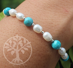 Turquoise Bracelet With Pearls Sterling Silver 925 19cm