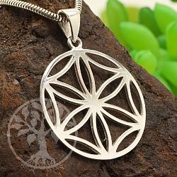 Anhänger Blume des Lebens vereinfacht Kreis Silber 925 34X25mm