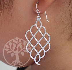 Earring Matt Ling Silver 925 Length 55mm