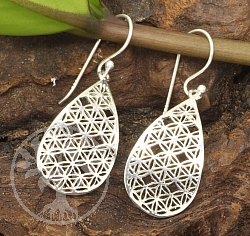 Earring Flower of Life Drop Silver 925 Length 33x12mm