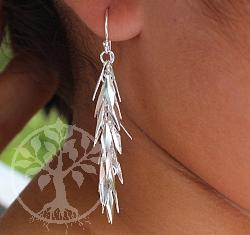 Ohrring Blätterwald glänzend Sterling Silber 925 Länge 60mm