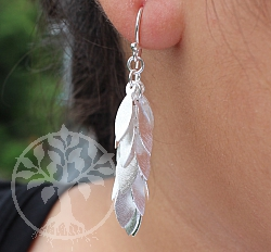 Earring Matt Silver 925 Length 62mm