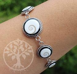 Silber 925 Armband Shiva schwarzer Kreis Länge 21cm