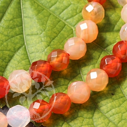 Garnelian Gemstone-Beads Round Faceted 6mm/40cm