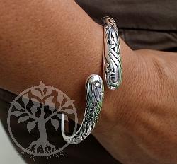 Armreif Silber 925 Ornamente mit Scharnier offen 5mm