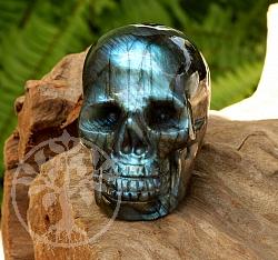 Labradorit Schädel Carving 50x39mm Kristallschädel Edelstein