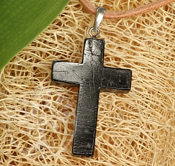 Black Turmalin Stone Cross Pendant Sterlingsilver 925 30mm