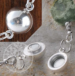 Magnetic clasp little ball 16 mm, silver 925