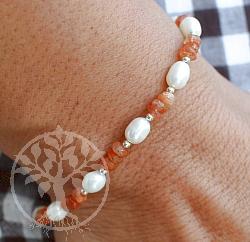 Sonnenstein Armband mit Perle Sterlingsilber 925 20mm