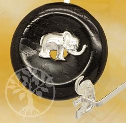 Donuthalter Elefant Stärke aus Silber 925 Länge 28mm