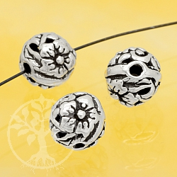 Silver Beads Flowers Sterling Silver 925 7mm