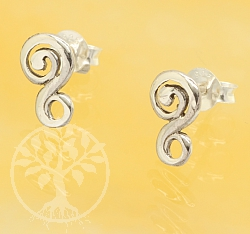 Pierced earrings whirlwind sterling silver 925 10mm