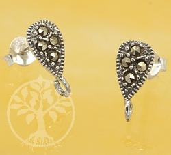 Ear Stud Drop Marcasite Sterling Silver 925 9mm 1 piece