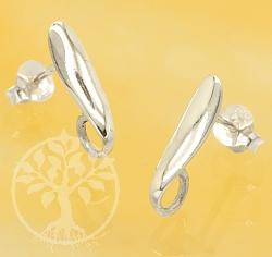 Ohrstecker Blatt Paar glänzend für Ohrschmuck Sterling Silber 925 15mm