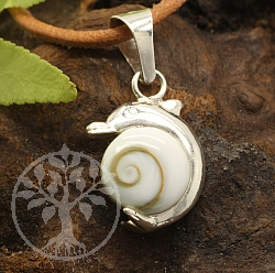 Dolphin Shiva Shell Pendant Sterling Silver 925 19mm