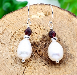 Pearl Garnet Silver Earrings Sterling Silver 925 26mm