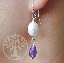 Pearl Amethyst Silver Earrings Sterling Silver 925 36mm