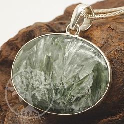 Seraphinite Stein Anhänger Sterling Silber 925 32mm