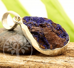 Natural Azurite Drop Pendant Sterling Silver 925 29x17mm