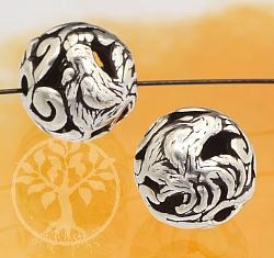 Silber Perle 925er Tierkreiszeichen Hahn 10mm
