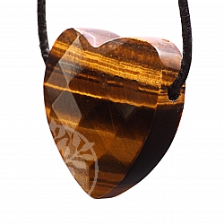 Tiger Eye Heart Pendant Belly Faceted 30x10mm