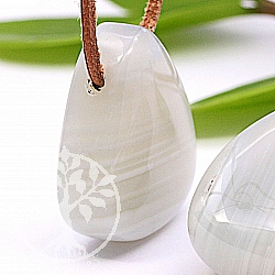 Agate White gemstone pendant 30X25mm White banded agate pendant