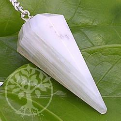 Agate White Banded Pendulum Genuine Gemstone 38mm