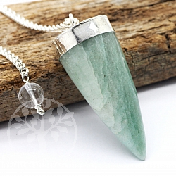 Aventurine gemstone pendulum with metal frame and rock crystal bead 40mm