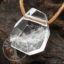 Crystal Quartz Pendant Stone Faceted 28mm