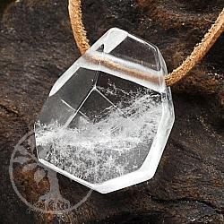 Bergkristall Edelstein Anhänger facettiert 28mm
