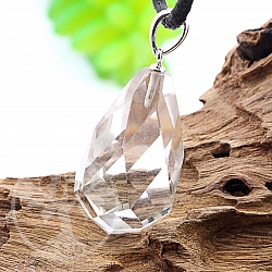 Crystal Stone Flat Drop Pendant with Silver 925