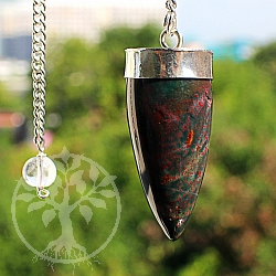 Heliotrop gemstone pendulum with metal frame and rock crystal bead 40mm