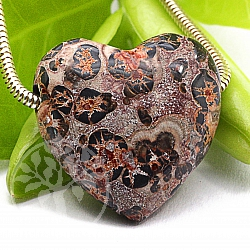 Leopard heart gemstone pendant 20mm