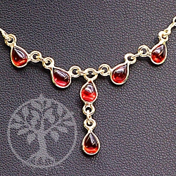 Gemstone Necklaces Granat with Garnet Silver-Collier 5 Sterling Silver