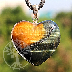 Tiger Eye Heart Stone Pendant
