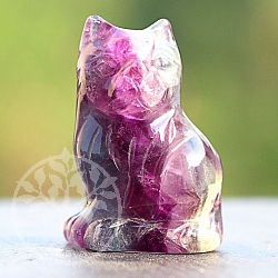 Fluorit Cat Stone Cat 40 mm Red Fluorite animal carving