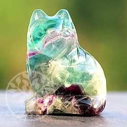 Fluorite rainbow gem cat 40 mm tall