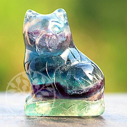 Katze Regenbogen Fluorit Edelstein Figur ca. 40mm