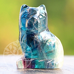 Fluorit Cat 40 mm Blue Gemstone CArving Fluorite
