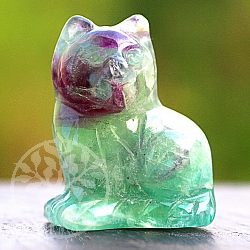 Cat sitting made of fluorite gemstone 40mm