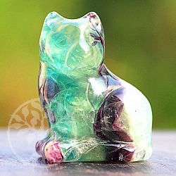 Wild Cat Fluorit Gemstone Natural Cat Rainbow is about 40 mm