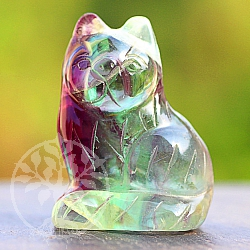Fluorite gemstone figure cat 40mm.