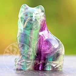 Steinkatze aus buntem Fluorit Mineral Brummelkatze